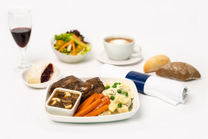Gourmet Menu - Hot Veal Menu served aboard Czech Airlines flights