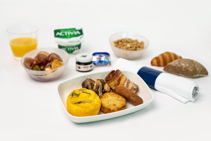 Gourmet Menu - Hot Omelette Snack served aboard Czech Airlines flights