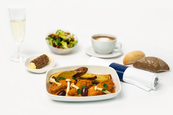 Gourmet Menu - Hot Chicken Cacciatore Menu served aboard Czech Airlines flights