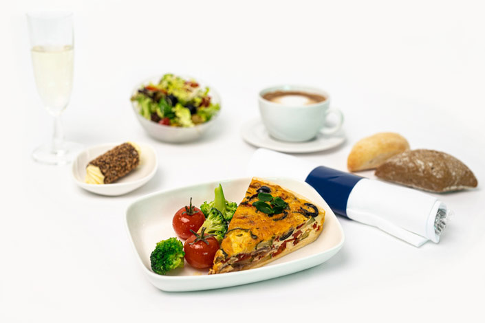 Gourmet Menu - Hot Vegetarian Menu served aboard Czech Airlines flights