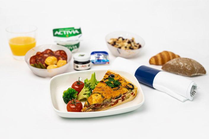 Gourmet Menu - Hot Quiche Snack served aboard Czech Airlines flights