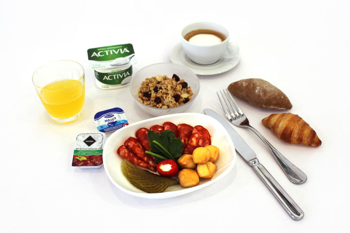 Gourmet Menu - Cold Salami Snack served aboard Czech Airlines flights