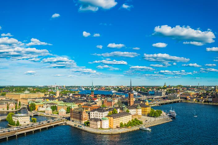 Стокгольм - панорамный вид на старый город Гамла Стан