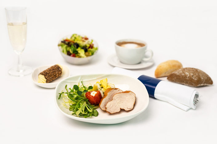 Gourmet Menu - Cold Chicken Menu served aboard Czech Airlines flights