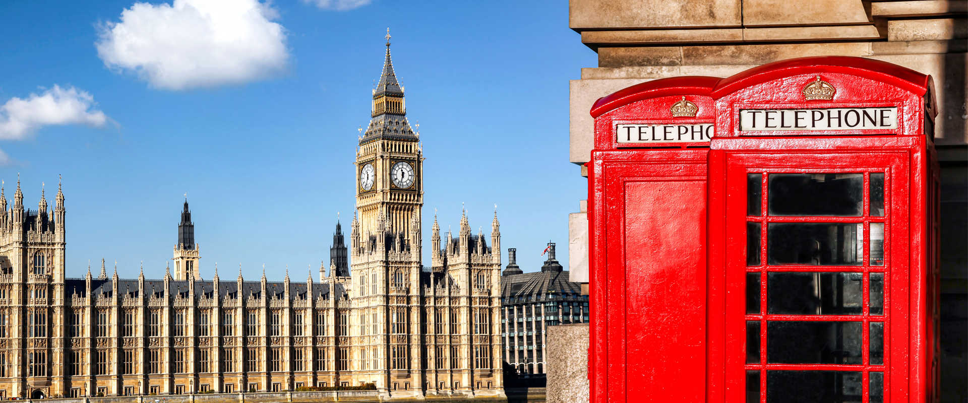 London - view of the Houses of Parliament with the Big Ben clock tower in the foreground with a red telephone box