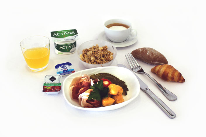 Gourmet Menu - Cold Ham Snack served aboard Czech Airlines flights