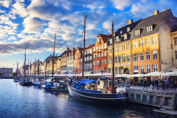 Copenhagen - the Nyhavn boardwalk and harbour
